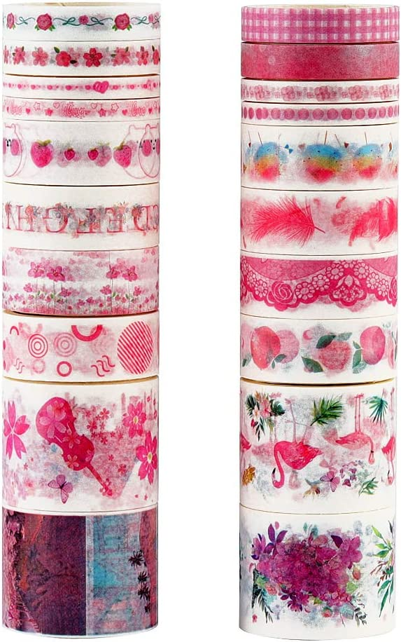 Molshine Set of 20 Washi Masking Tape, Sticky Paper Tape for DIY,Bullet Diary Decorative,Gift Wrapping, Scrapbook, Arts Crafts Office Party Supplies-Love for Pink Series