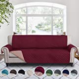 "RHF Couch Protectors for Dogs,Reversible Pet Protector Furniture Covers,Sofa Protector Cover,Wide Chair Cover,Couch Covers,Extra Large Sofa Slipcover,Width Up to 78""(Sofa-Extra Wide:Merlot/Tan)"