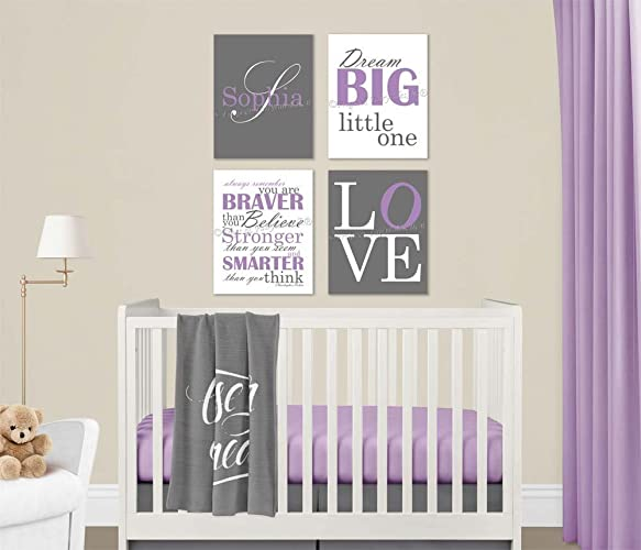 Amazon.com: Baby Girl Nursery Purple Grey Canvas Wall Art Love Dream ...