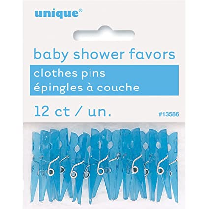 Mini Plastic Blue Clothespin Boy Baby Shower Favor Charms, 12ct
