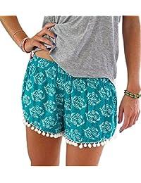 YJWAN Women High Waist Hot Pants Small Balls Tassel Printed Casual Beach Mini Shorts