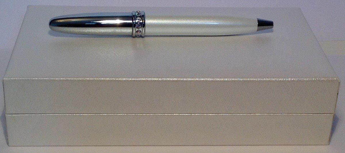 Maranda-Ti Mini Pearlescent SILVER Crystal Ring Ballpoint Pen Boxed