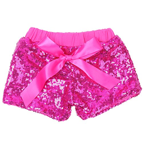 Cilucu Baby Girls Shorts Toddler Sequin Shorts Sparkles on Both Sides Hot Pink ()