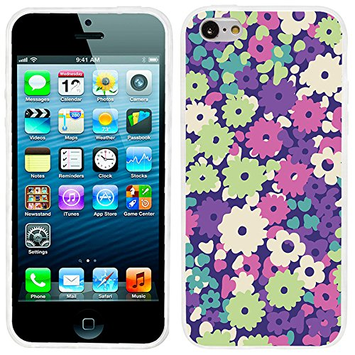Silicone Soft TPU Floral Pattern Case for iPhone 5C (Green) - 2