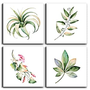 """Canvas Wall Art for Kitchen Simple Life Green Plants Wall Decor for Bedroom Artwork 12"""" x 12"""" 4 Pieces Framed Ready to Hang Home Decoration Living Room Canvas Prints Green Flower Posters Picture Art"""