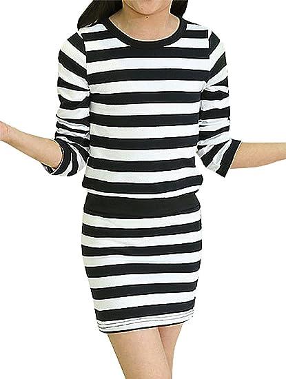 59efab2f8503 Amazon.com  Sweety Girls  Striped Tight Fit Sporty Long Sleeve ...