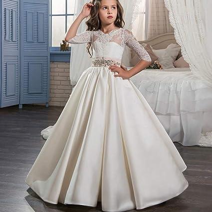 Vestidos formales de fiesta Vestido de boda de la etapa Flor de satén de la vendimia
