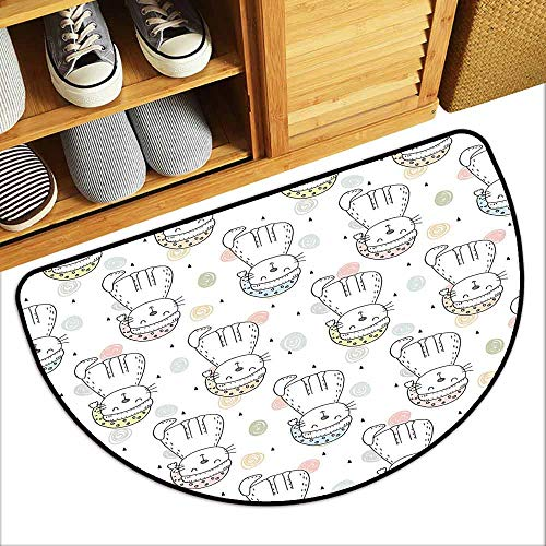 YOFUHOME Doodle Outdoor Door mat Sleepy Cat Colorful Hats Night Time Good Night Cute Animals Hard and wear Resistant W31 x L19 Baby Blue Light Pink Light Yellow