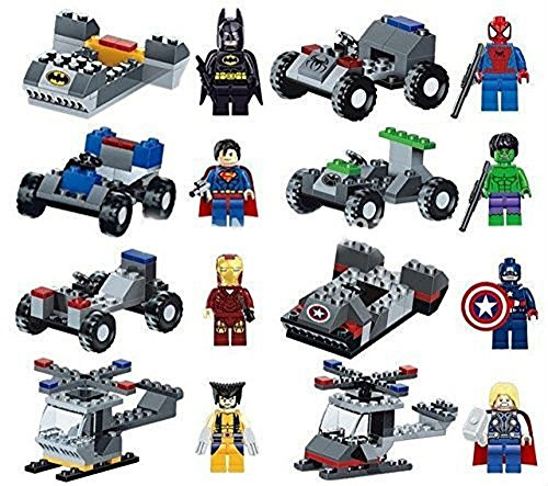 Oliasports Kids Super Heroes Action Mini Figure with Vehicle (Lot of 16)