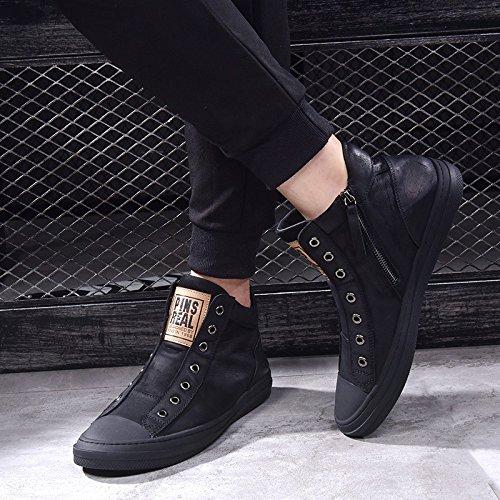 Chaussures pour Hommes Chaussures Hautes Chaussures Casual Chaussures en Cuir D'Hiver Chaud Chaussures en Coton Black CbdZKfkbR