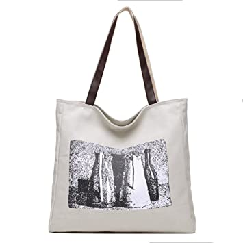 071f2fa805 Amazon.com: Printing Casual Shoulder bags for women, Multifunctional Canvas  handbag Large capacity Shopping bags Totes bag With zipper closure-White ...