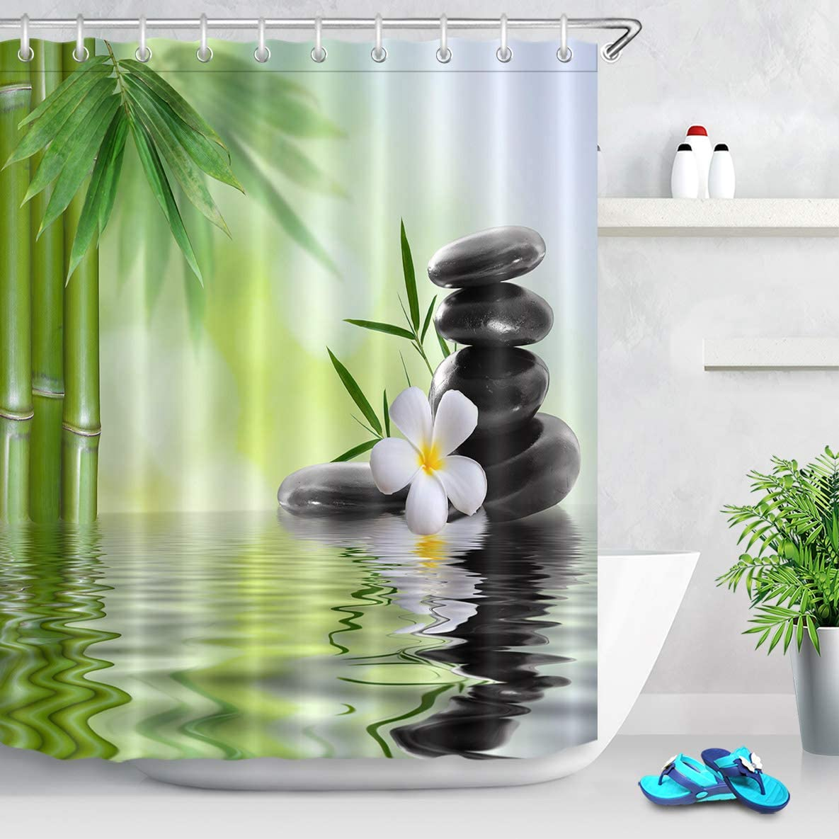 LB SPA Cortina de Ducha con Ganchos,Piedras Negras Orquídeas Bambú Cortina de baño de Agua 150W x180H CM,Tejido de poliéster Anti-Moho Resistente al Agua