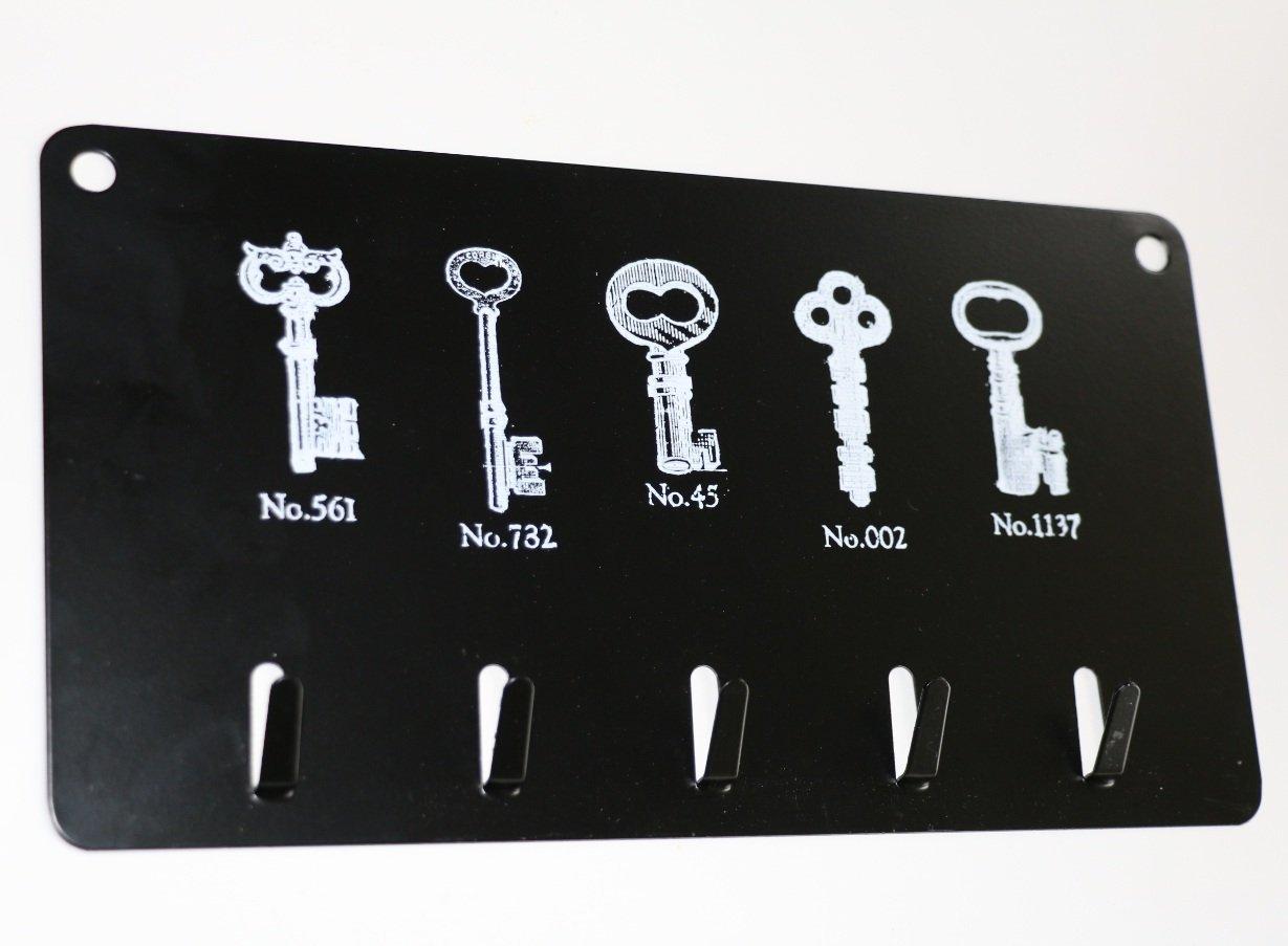 22x 12cm portachiavi da parete in metallo nero Vintage in Metallo Portachiavi da parete 5Ganci Portachiavi con ganci