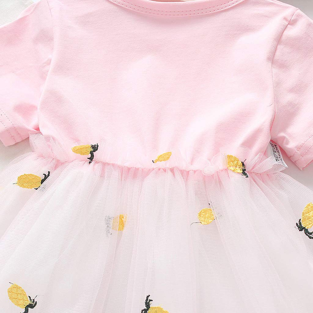Dress for Kids Baby Girl Skirt Suit Lovely Softsummer Short Sleeve Pineapple Princess Leisure Clothes Infant Toddler Newborn Fashion Comfortable Gown