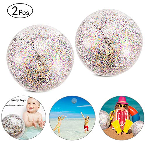 Onene 2 Pieces Glitter Beach Ball, 24 inch Confetti Beach Balls, Inflatable Pool Ball Party Ball for Summer Party and Water Play Toy, Also Can Be Used as Photo Props