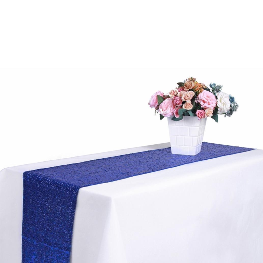 Blau, 30x180cm Tischdecken HKFV Neue Pailletten Satin Tischl/äufer 30x300 cm Glitter Hochzeit Party Veranstaltungsdekor Hotel Hochzeit Bankett Tischtuch mit hoher Dichte Tabletten
