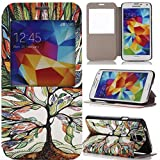 Note 3 Case, Note 3 flip case Gift_Source [Slim Fit] Window View PU Leather Case Flip Cover Folio Case for Samsung Galaxy Note 3 N9000 (Tree and Leaf)