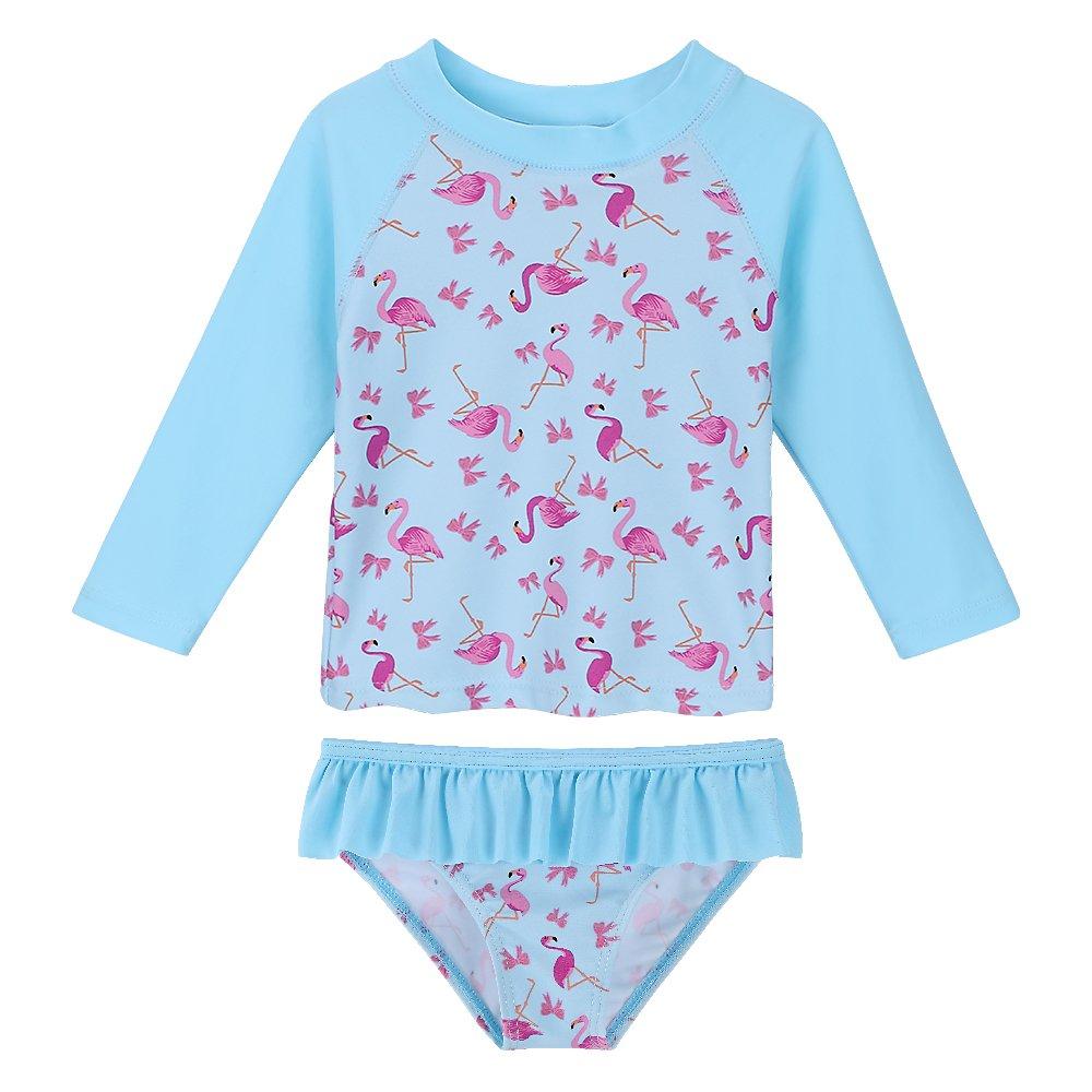 HUANQIUE Baby/Toddler Girls Swimsuit Rashguard Set Flower Tankini