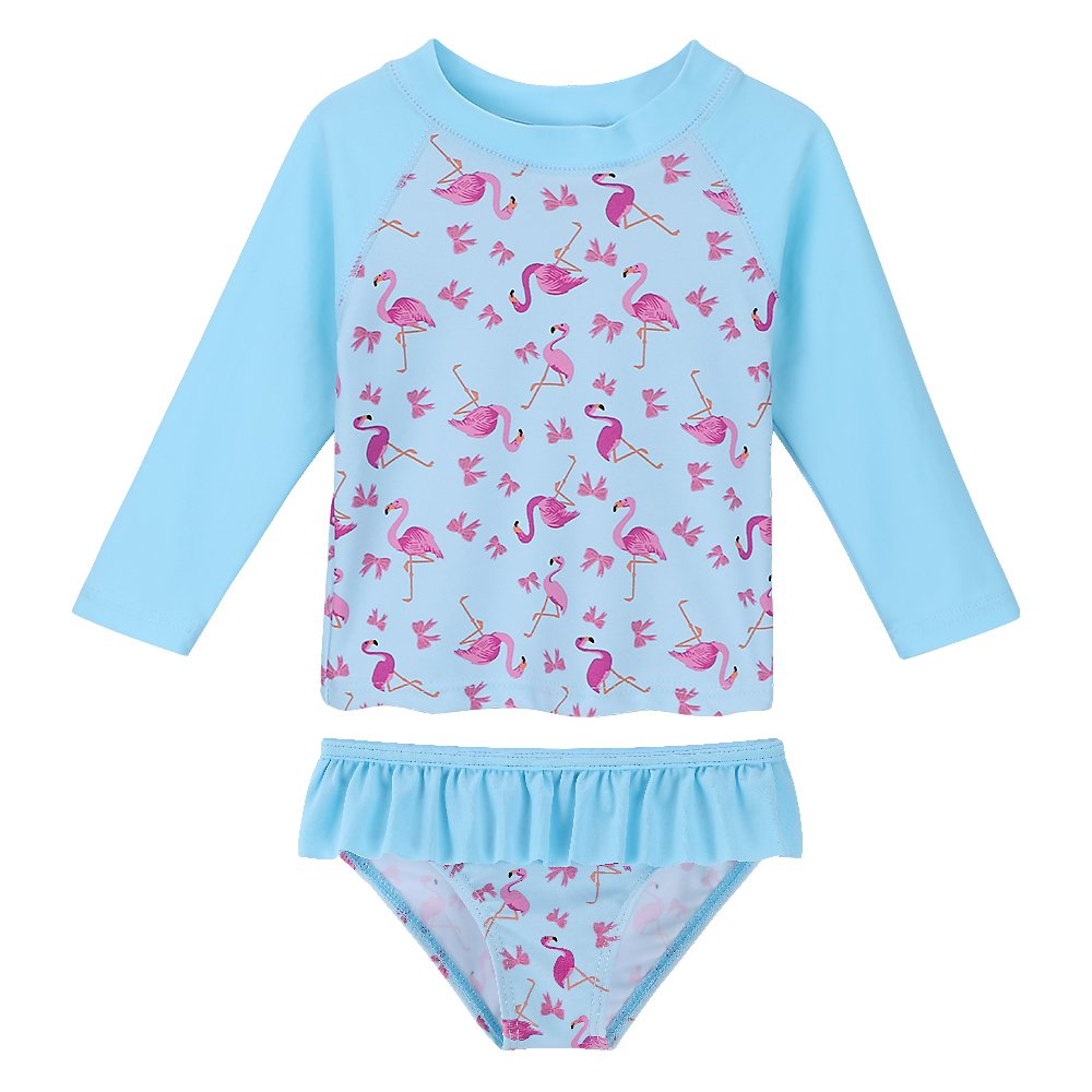 HUANQIUE Baby/Toddler Girls Swimsuit Rashguard Set Flower Tankini