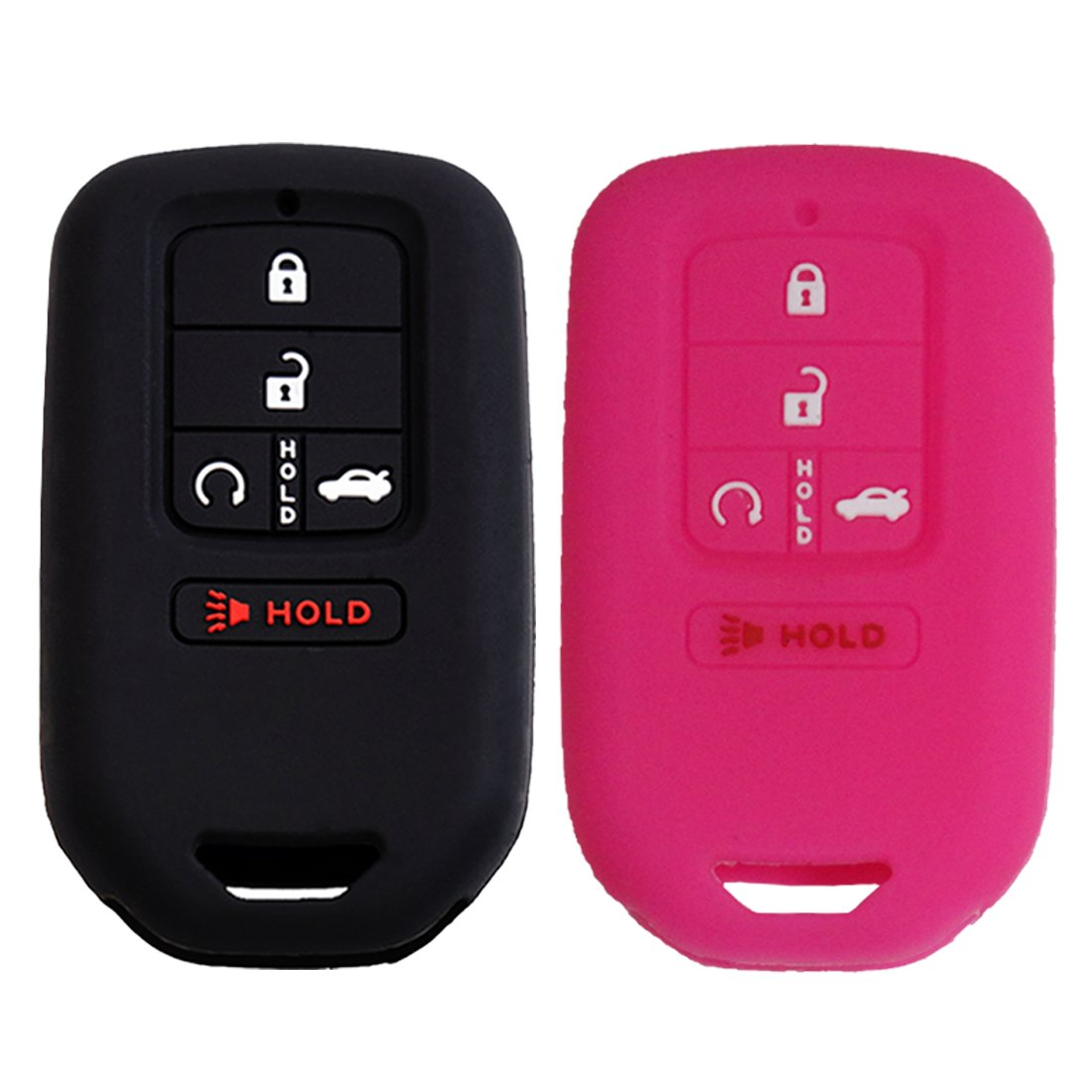 Keyless4U 2Pcs Silicone Key Fob Full Case Cover Protector Remote Skin for A2C81642600 2015 2016 2017 2018 2019 Honda Accord Civic CR-V CRV Pilot EX-L Touring Premium 5 Buttons smart key Black