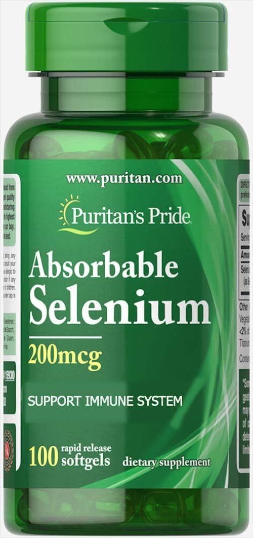Puritan's Pride Absorbable Selenium 200 mcg-100 Softgels: Health & Personal Care