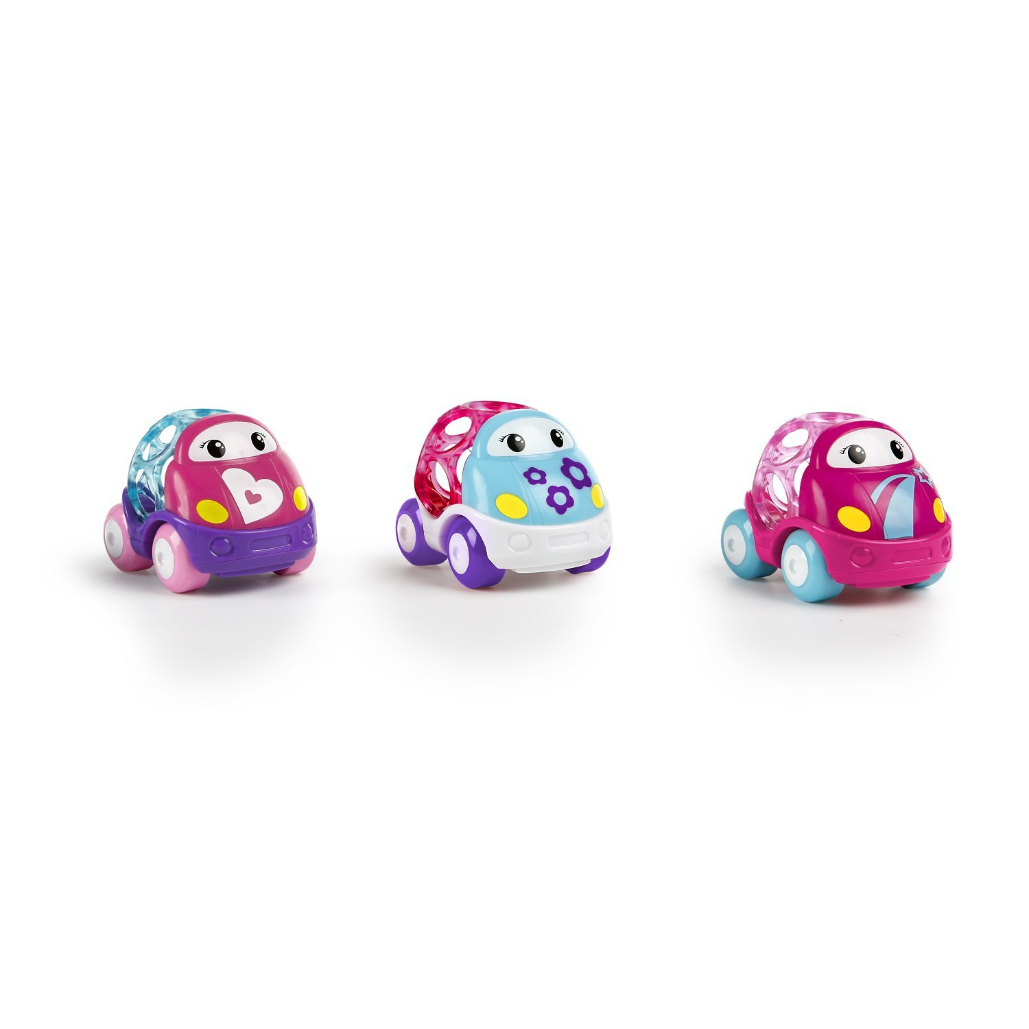 Oball 3 Piece Go Grippers Vehicles, Pink-3 pack