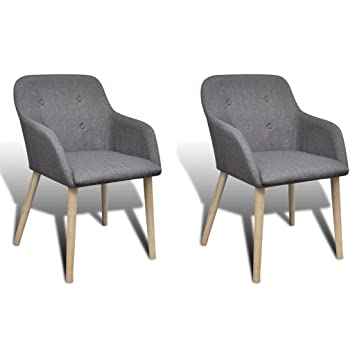 Amazon.com - Fabric Dining Chairs Set of 2 pcs Dark Gray Dining ...