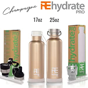 Rehydrate Pro Double Wall Vacuum Stainless Steel Insulated Water Bottle. Comparable to Hydroflask, Yeti, Swell and More. It Includes Extra Cap + Silicone Bumper Coaster