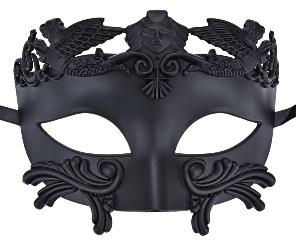Coxeer Mens Masquerade Mask Greek Party Mask Black Mardi Gras Halloween Mask