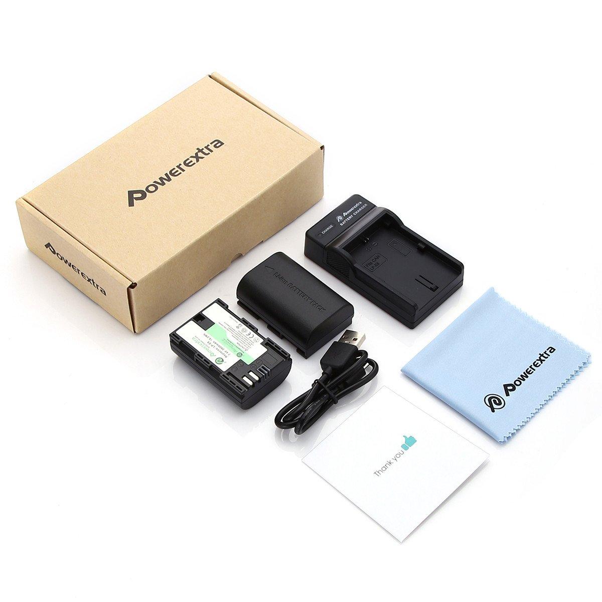 Powerextra 2 paquetes LP-E6 Reemplazo Batería Recargable con Cargador Para Canon 70D, 5D Mark II, 6D, 7D, 5D Mark III DSLR Cámaras