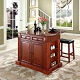 Big Lots Bar Stools Crosley Furniture Drop Leaf Breakfast Bar Top Kitchen Island in Cherry Finish with 24-Inch Cherry Upholstered Saddle Stools