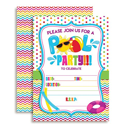 Pool Party Fill In Invitations set of 10 with envelopes. Perfect for Summer parties,birthdays, barbeques, last day of school and more (Bbq Party Invitation)