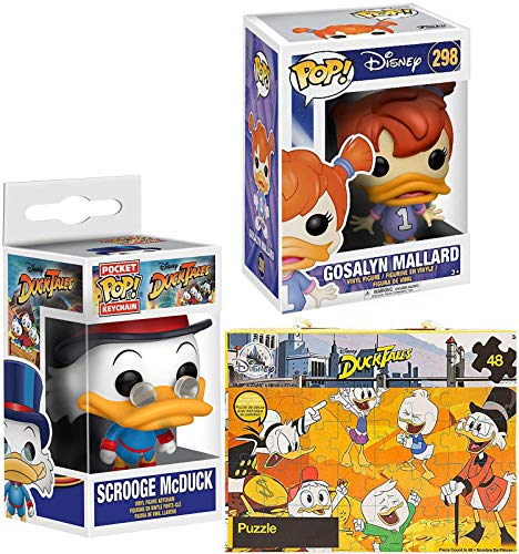 Duck Duck Ducktales Scrooge McDuck Figure Pocket Pop! Keychain Hanger Bundled with + Glitter Puzzle Box & Darkwing Duck Mini Figure Gosalyn Mallard #298 Collectibles 3 Items