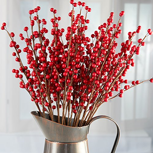 Factory Direct Craft Package of 24 Rich Red Artificial Berry Stems for Holiday and Home - Christmas Floral