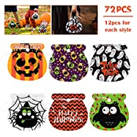 Amosfun Halloween Drawstring Goody Bags 72PCS Assorted Trick or Treat Candy Bags for Kids Party Favors,Treat Gift Bags,Snacks Candy Bag,Halloween Party Supplies