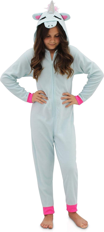 Rainbow Girls Magical Unicorn Onesie Pajama Union Suit Costume with Hood