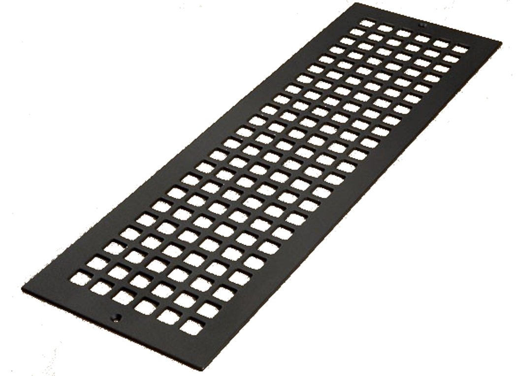6'' x 24'' Flat Black ''Cast Iron Look'' Steel Square Design Vent Cover With Screwholes (8'' x 26'' Overall)