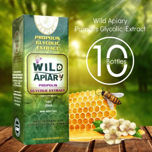 Limited Time $150 Off with Coupon - Official Distributor - 10 Bottles Wild Apiary Green Bee Propolis Liquid Glycolic Extract -Alcohol Free, Wax Free, Sugar Free
