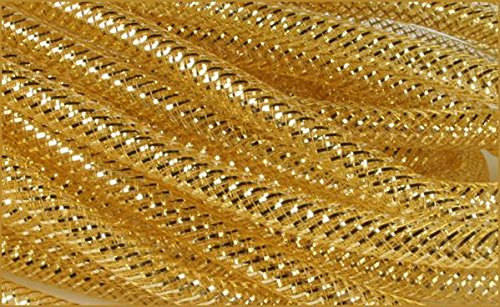 Deco Mesh Flex Tubing with Metallic Foil (Gold) 8mm x 30 Yards : RE300445 (Gold Tubing)