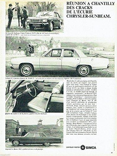 1967 CHRYSLER INTERNATIONAL: CHRYSLER-ROOTES - SIMCA SUNBEAM VOGUE, VALIANT 67 & IMPERIAL LeBARON