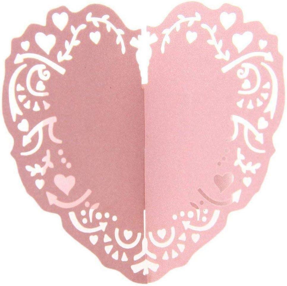 Rose ACAMPTAR 50pcs Anneau Rond de Serviette Coeur en Papier Decoration de Table pour Mariage