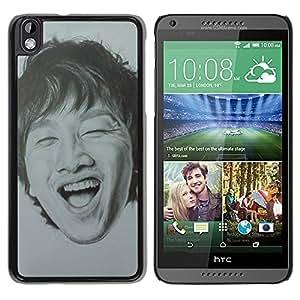 PC/Aluminum Funda Carcasa protectora para HTC DESIRE 816 Portrait Man Laughing Teeth / JUSTGO PHONE PROTECTOR