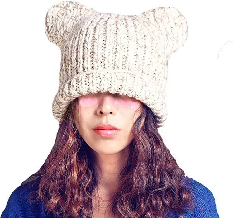 BIBITIME Bear Ears Knitted Hat Cap Women Girls Lady Handmade Winter Warm  Beanie (One Size eadeddfff99c