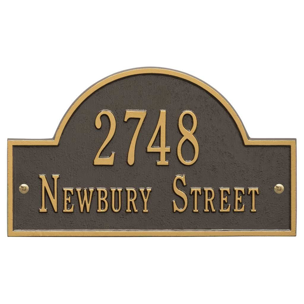 Comfort House Lawn Mounted Metal Address Plaque with Arch Top. Custom House Number Sign Displays House Number and Street Name 63159F2.