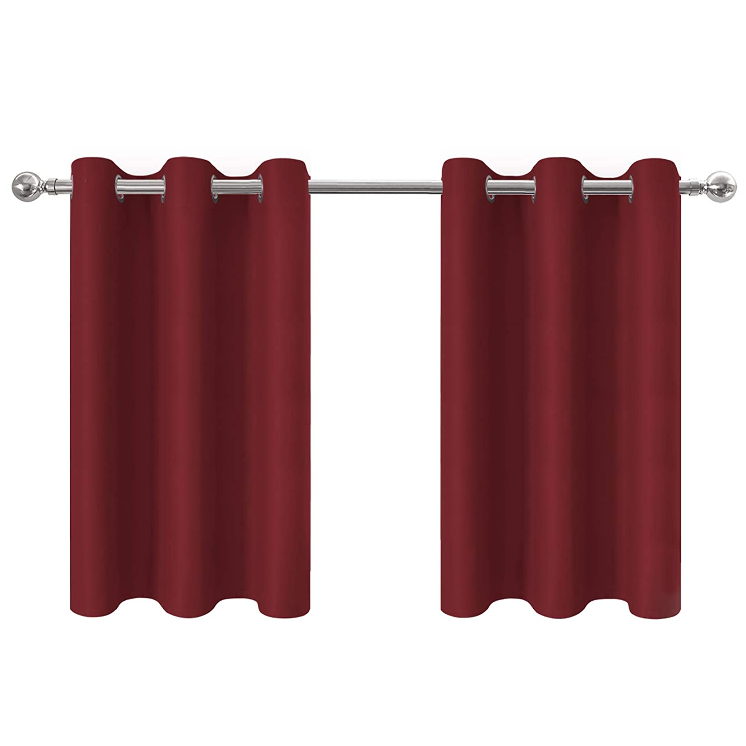 Aquazolax Red Blackout Grommet Tier Curtains Drapes for Basement - Elegant Thermal Insulated Bedroom Window Treatment Curtains/Drapes, W42 x L36 Inches, Burgundy, 2 Panels
