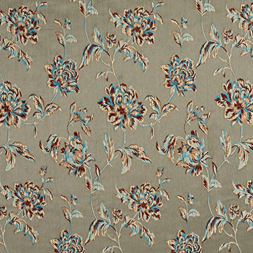 Aqua and Beige Heirloom Vintage Flower Pattern Brocade Upholstery Fabric by the yard