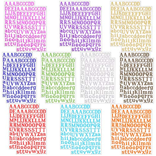 SUBANG 20 Sheets A to Z Colorful Letter Stickers Alphabet Stickers Cardstock Stickers, 10 Different Color Alphabet Available