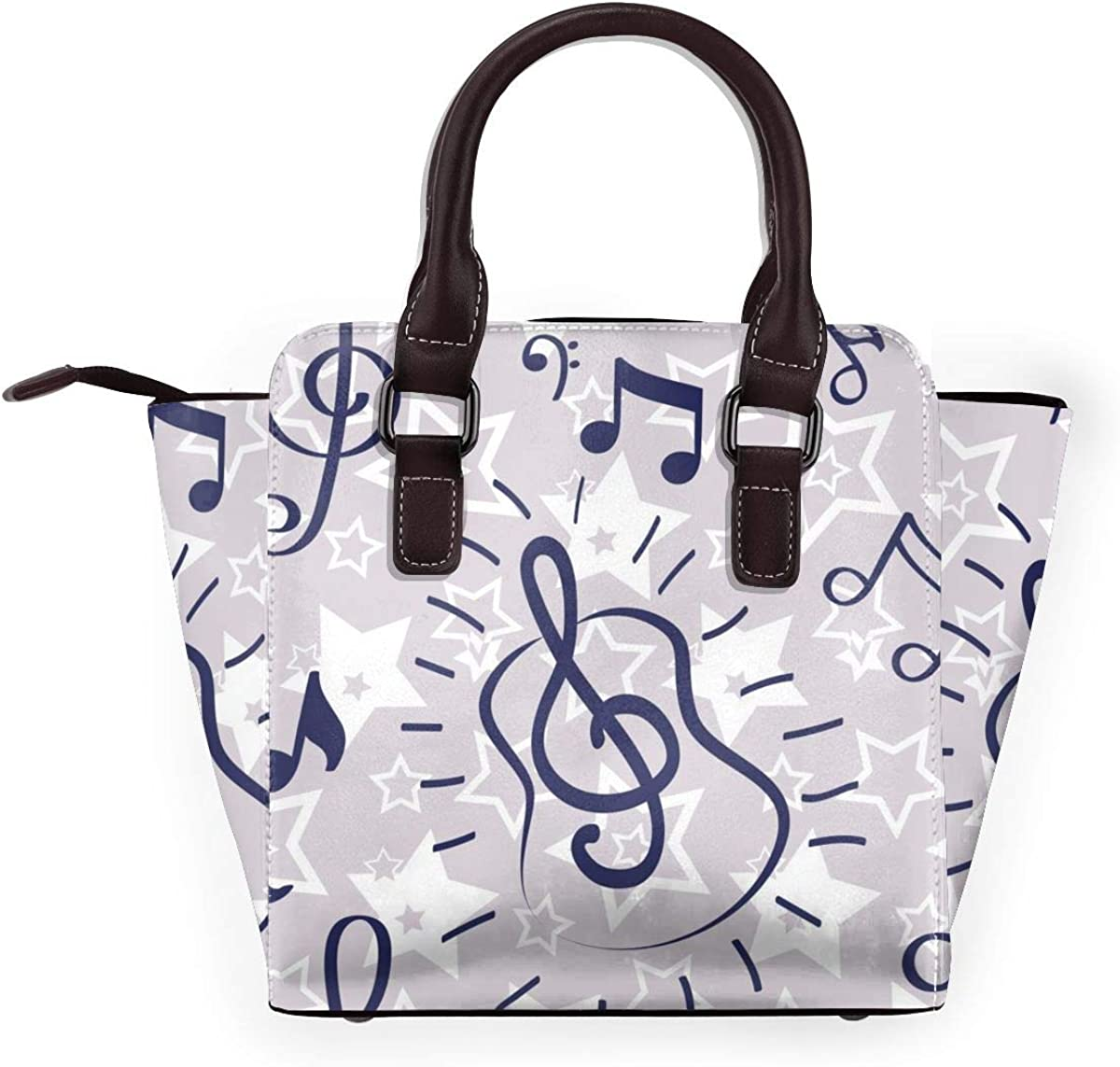 Baffi e cuori donna moda vera pelle rivetto borsa a tracolla ragazze viaggio scuola borsa Chiave Musicale Astratta
