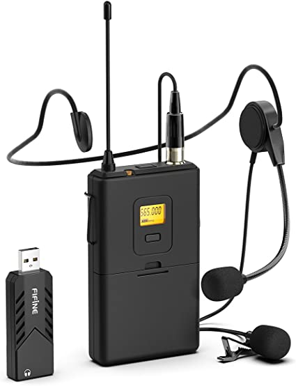Amazon Com Wireless Microphones For Computer Fifine Usb Wireless Microphone System For Pc And Mac Headset Uhf Wireless System With Usb Receiver Transmitter Headset And Clip Lavalier Lapel Mic K031b Musical Instruments