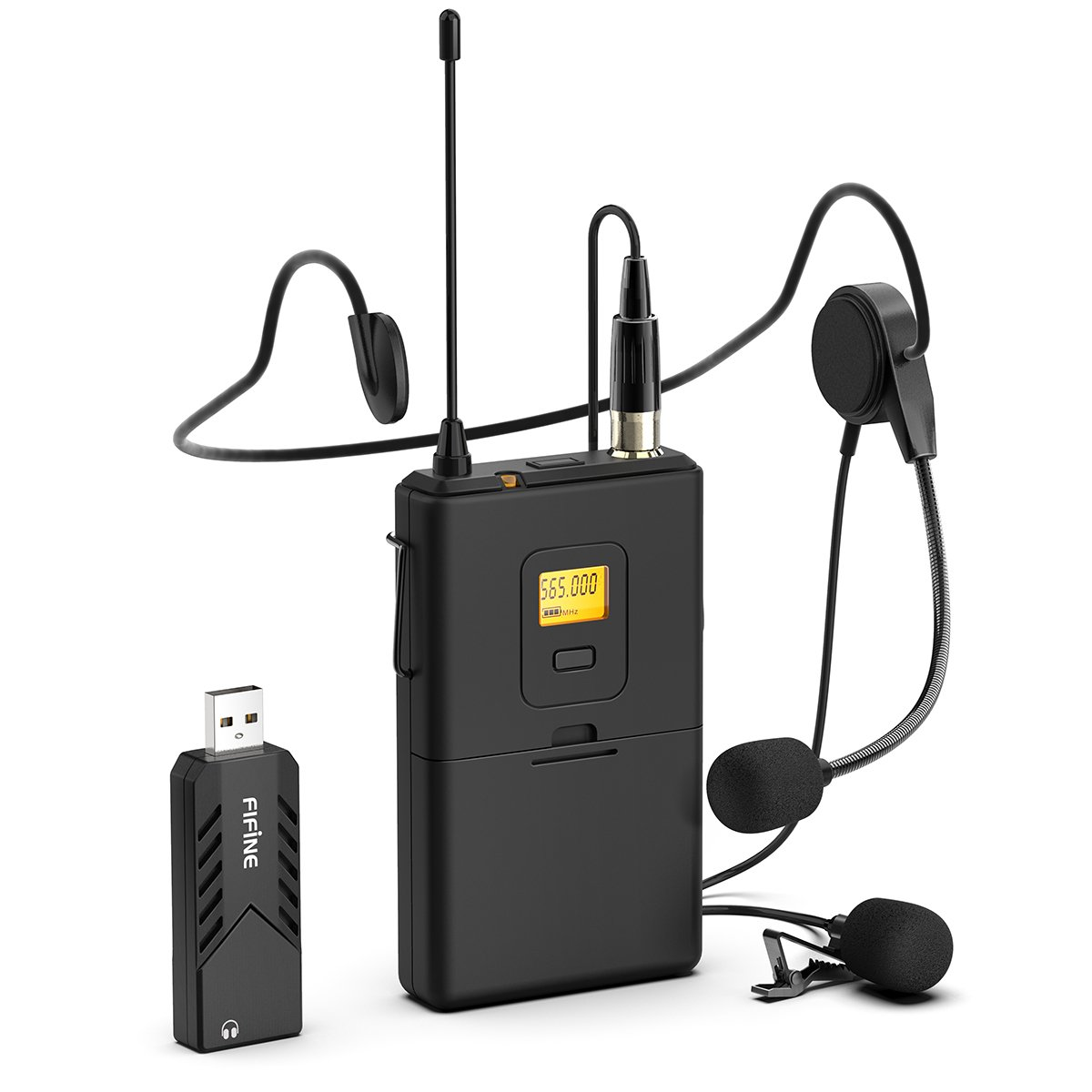 Wireless Microphones for Computer,FIFINE USB Wireless Microphone System for PC & Mac,Headset UHF Wireless System with USB Receiver,Transmitter,Headset and Clip Lavalier Lapel Mic.(K031B)